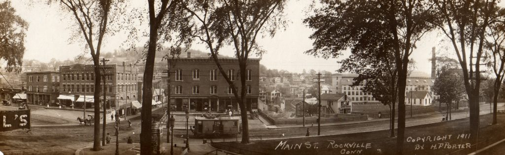 Looking across Central Park at Main Street in 1911 from left to right at the Orcutt Block, the Dowling Block and several buildings belonging to the Rock Mill company.