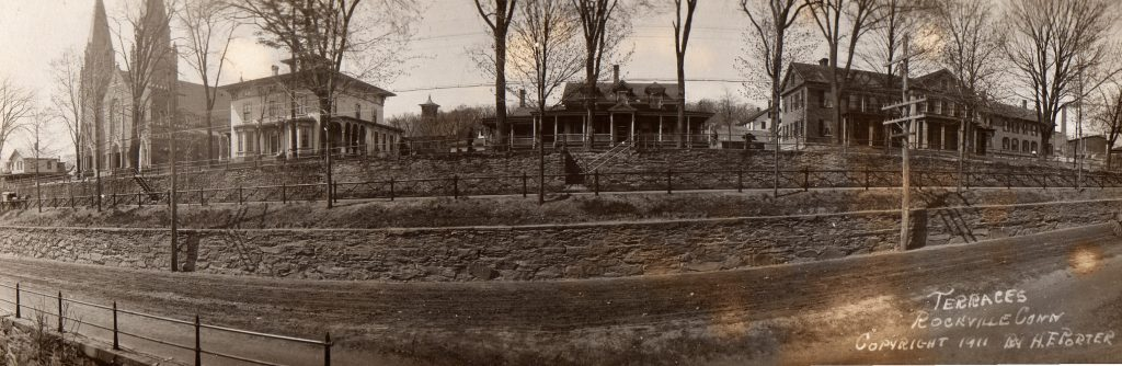 This photo was taken along the upper part of Main Street facing the stone terrace. The homes along the upper road were replaced by business buildings and parking lots later in the 20th century.